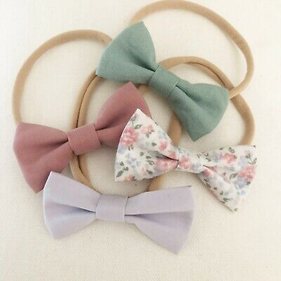 4 X Bow Headband Pack Newborn Baby Girl Toddler Nylon Lilac White Pink Floral