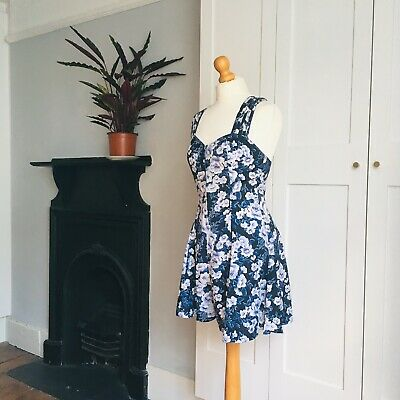 Vintage 90s Black White Navy Blue Floral Print Crossover Straps Playsuit 8