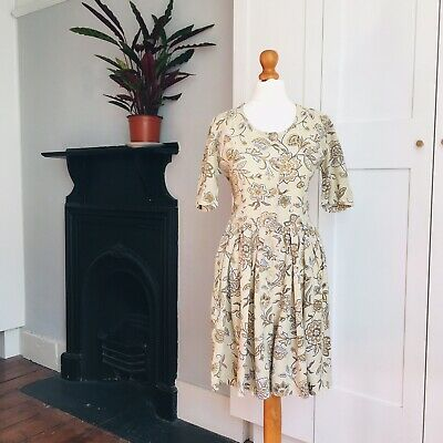 Vtg 90s Light Brown White William Morris Floral Print Fitted Shorts Playsuit 8