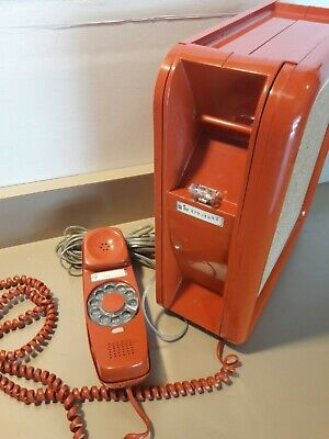 Vintage 1970's Western Electric Orange Noteworthy Rotary Dial Wall Phone