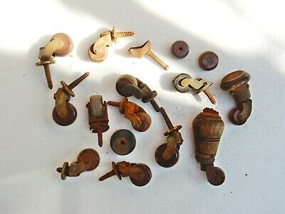 Antique Original Bulk Job Lot Red Ceramic Pottery Caster Castor Wheels Restore