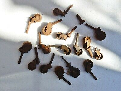 Antique Original Bulk Job Lot Brass Metal Caster Castor Wheels Mixed Restorers