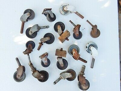 Antique Original Bulk Job Lot Large Plastic Caster Castor Wheels Mixed Restorers