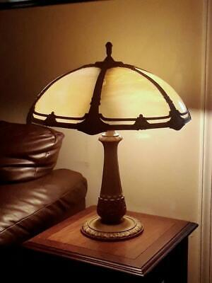 Antique Amber Beige Slag Glass Lamp - ca 1920s Handel Phoenix B&H Era Excellent