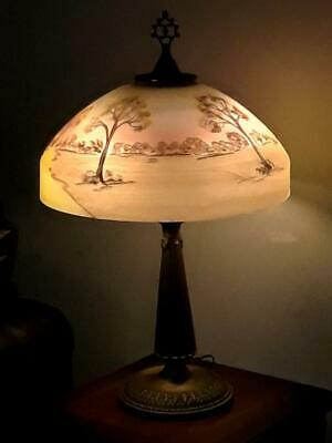 Antique Beautiful Reverse Painted Shade Table Lamp 1910-20 Handel Phoenix BH Era