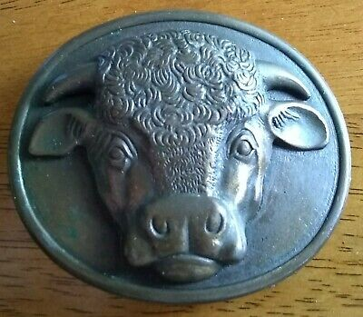 VINTAGE Malcolm Hereford Cows Cocktails 1975 Myers-Suzio Bull Head Belt Buckle