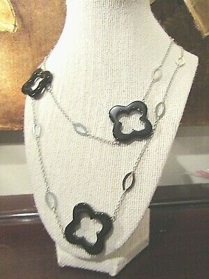 """Black Agate CLOVER Sautoir Long 42"""" Necklace Stainless Steel Chain STUNNING! NEW"""