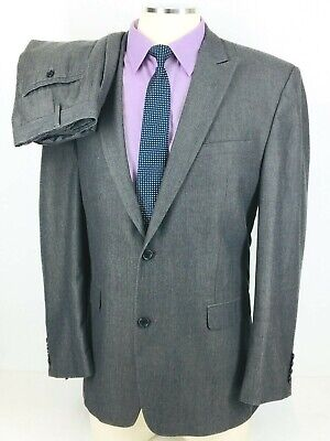 42L Joe Joseph Abboud Mens 2 Button Suit Gray Herringbone Pants 42 Exc!