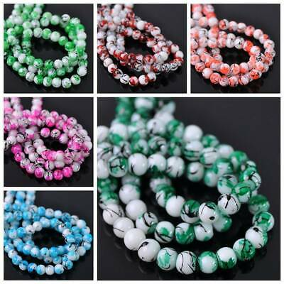 100pcs 6mm Round Spots Glass Colorful Loose Spacer Beads Jewelry Findings DIY