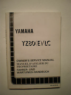 Genuine Official Yamaha Yz80 (E)/Lc 1993 Owners Service Manual
