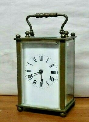 Fine Antique French Brass Lantern / Carriage Clock Working With Key