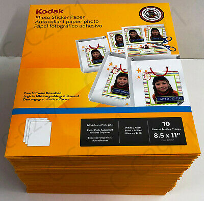"Kodak Gloss White Photo Sticker Adhesive Paper Letter Size 8.5 x 11"" 10 Per Pack"