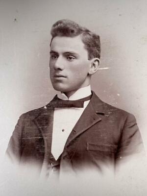 Antique Cabinet Card Photo Freeport Illinois Young Man Victorian