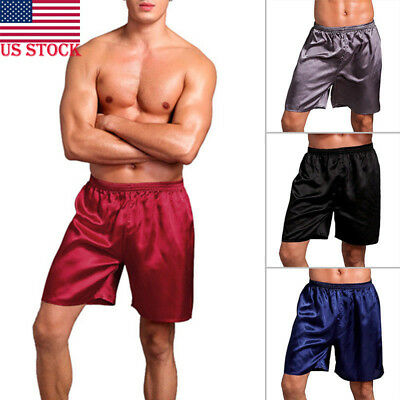 US STOCK Men's Silk Satin Pajamas Shorts Sleepwear Loungewear Plus Size Pants