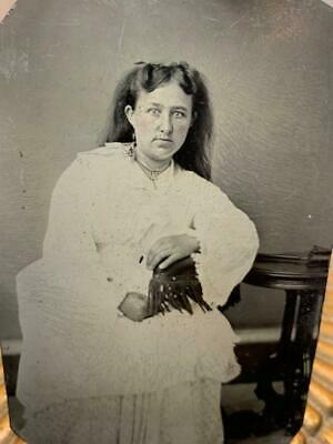 Antique Tintype Photo 1800s Lovely Young Woman Victorian White Dress