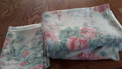 Vintage cotton flat single bed sheet set and pillow case used floral pink green