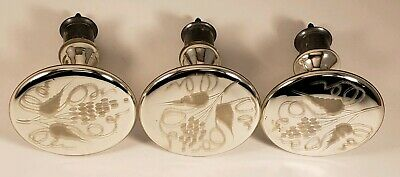 Lot Of (3) Antique Mercury Glass Curtain Tieback Etched Floral 3""