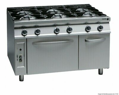 Fagor SS Cook Top with Gas Oven 900 Series 6 Burner Cast Iron