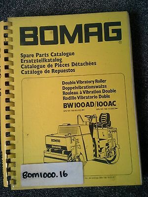 Bomag Double Vibratory Roller  Catalogue Parts  Book   Bw100Ad  Bw100Ac