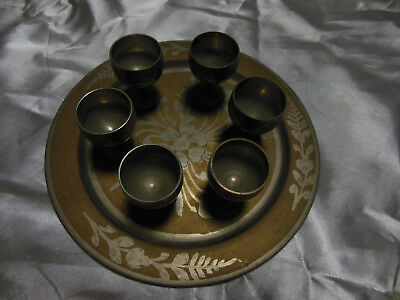 Beautiful Vintage Indian Decorative Small Metal Plate and 6 Cups