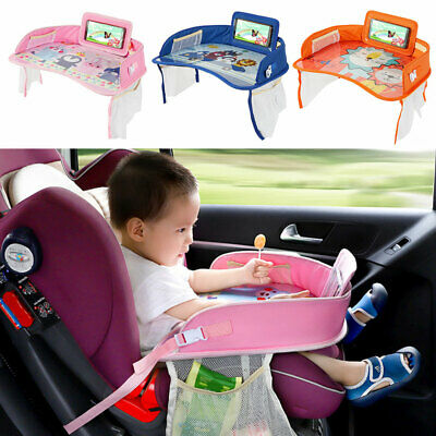 Kids Travel Portable Safety Seat Table Board Drawing Car Play Tray Snack Holder