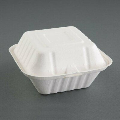 Fiesta Green Compostable Hinged Container Burger Box - 79x143x146mm (Pack 500)