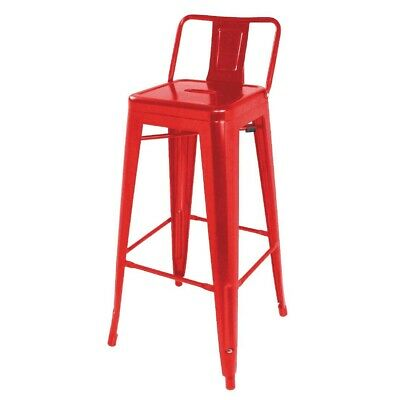 Red Steel Bistro High Stool with Backrest (Pack 4) Bolero|