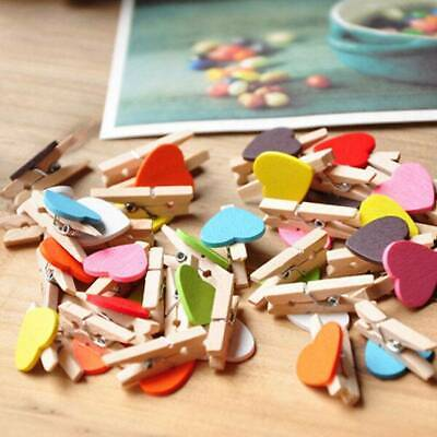 100X Wooden Clips Heart Mini Pegs Clothespin Clip Home Wedding Decor DIY Crafts