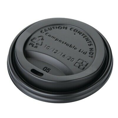 Fiesta Green CPLA Lid for Hot Cups Black- 12oz (Sleeve 50)