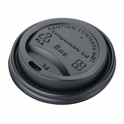 Fiesta Green CPLA Lid for Hot Cups Black - 8oz (Box 1000)