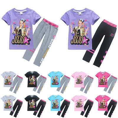 JoJo Siwa 2Pcs Kids Girls Short Sleeve T-Shirt Tops Pants Clothes Outfits Sets