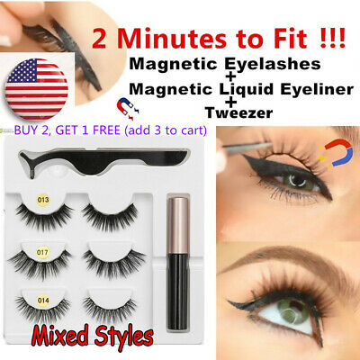3 Pairs 5 Magnets Magnetic Eyelashes With Magnetic Eyeliner  and Tweezer SKONHED