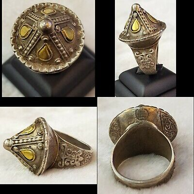 Very Rare And Unique Roman Very Old  Antique Silver Huge Ring With 20k Gold Work