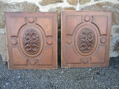 Pair of Panel Carved oak Wood Antique