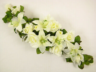 Artificial Silk Flowers Cream Rose Lily Top Table Centrepiece Wedding Car Shelf