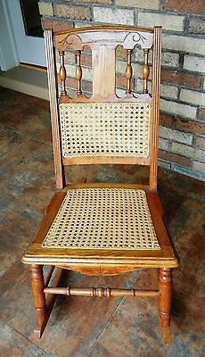 ANTIQUE GOLDEN OAK, HAND-CARVED, CANED NURSING/SEWING ROCKER Orig owner