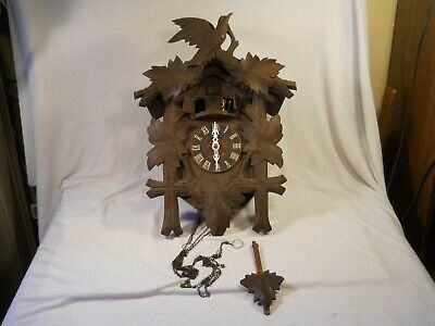 Vintage German/ Swiss Cuckoo Clock Musical  Dancers no weights repair 19 in tall