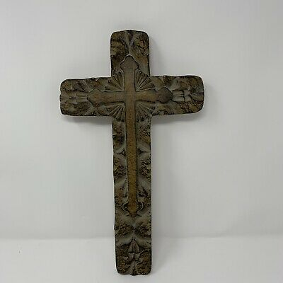 """15"""" Cross Hanging Crucifix Wall Mounted Resin Cross Religious Gift Taupe Black"""
