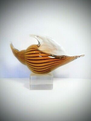 Vintage Hand Blown Shell Art Glass Pocket Vase Sculpture