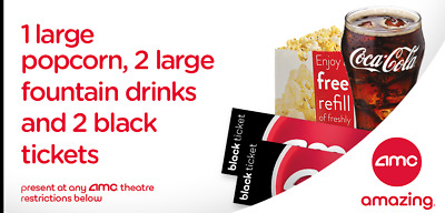 2 AMC Movie Tickets, 2 Large Drinks & 1 Large Popcorn- eDelivery