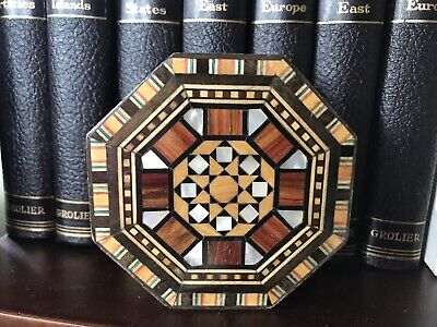 "Mahogany Wood Marquetry Detailed Mother Of Pearl Inlay Box Octagon 3.5"" Morocco"