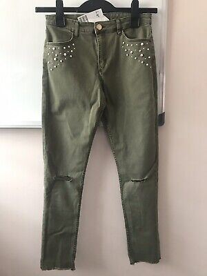 New H&M Girls Khaki Green Jeans With Pearl Detail 12-13 Years
