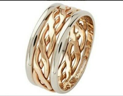 8mm 9ct Yellow Gold Celtic Weave Wedding Rings Heavy 6.0g UK HM 375 Bands Q-V