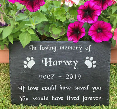 Personalised Engraved Pet Memorial Slate Grave Marker Headstone Plaque for Dog
