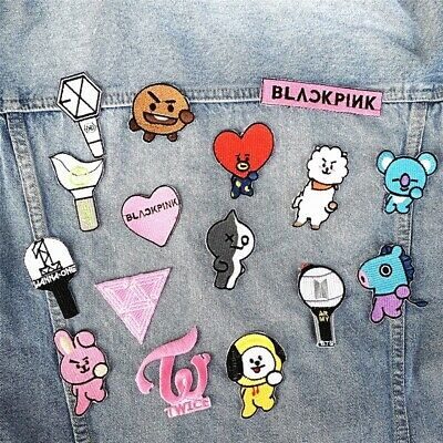 Kpop BTS BT21 TWICE Embroidery Cloth Patches Iron Sew Fabric Embroidered Gift