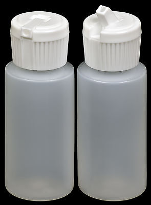 Plastic Bottle w/White Turret Lid, 1-oz., (HDPE), 100-Pack, New