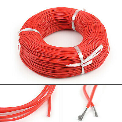 20M Flexible Stranded Silicone Rubber Wire Cable 18AWG Gauge OD 2.3mm Red CA
