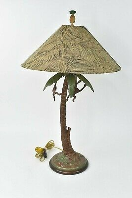 Frederick Cooper Bronze Tall Monkey Table Lamp W/ Cooper Shade W/ Pineapple Top