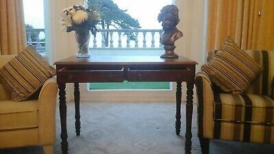 Victorian Mahogany 2 Drawer Side Table Circa-1880-90 With Green Leather Top