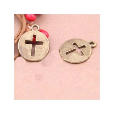 2 Cross Connector Charms Antique Bronze Tone Rounded Design BC382